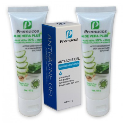 Premacos Anti-Acne Gel 7 g + Aloe Vera Plus 50 g X2